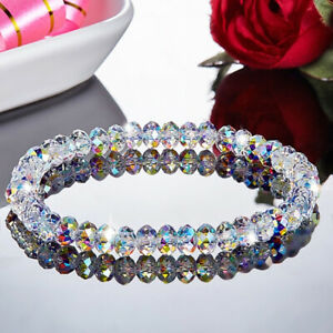 Aurora Borealis Wedding Crystal Bangle Geometric Transparent Beads Bracelet