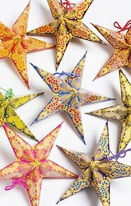 Star decorations 8 handmade paper hanging stars/lanterns paisley print-18cm NEW