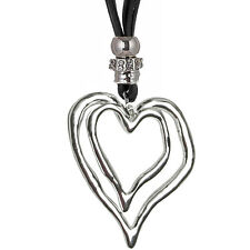 Large silver twin heart pendant black suede long necklace fashion jewellery