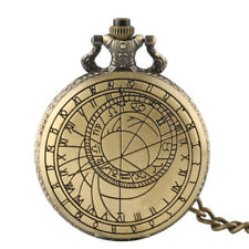 Antique Compass Quartz Pocket Watch for Men Women Necklace Chain Pendant Gift