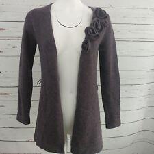 Elena Solano Cardigan Sweater Small Purple Lambswool Angora Rabbit Hair Rosettes