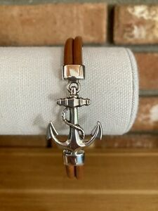 Sterling Silver and Brown Leather Nautical Anchor Bracelet Mexico