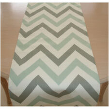 "Table Runner 5ft Duck Egg Grey Zig Zag Chevrons 60"" 150cm Geometric Modern Jazz"