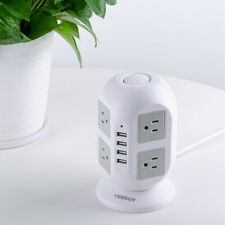 Widely Spaced Outlet Power Strip Surge Protector with USB Charge Port &10ft Cord