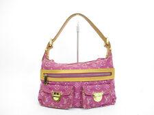 Authentic LOUIS VUITTON Monogram Denim Pink Shoulder Bag Baggy PM #4413