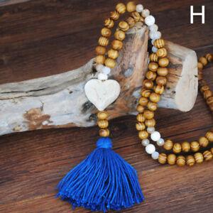 Women Vintage Boho Bohemian Wooden Beads Long Pendant Necklace Jewelry C2UK