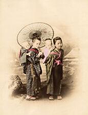 Adolfo Farsari (attrib.) Two little girls Or handcolored photo Japan 1885c L356