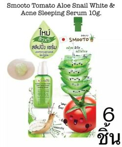 Smooto Tomato Aloe Snail Sleeping Face Serum Reduce Acne White Skin Care 6x10g