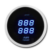 Auto Air Temperature Gauge Dual Blue LED Digital Display Smoke Lens 52 mm °C