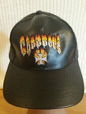 CHOPPERS HAT - leather - cross - flames - black - adjustable