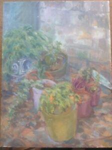 Original Lillian Mingay Impressionist Oil on Board Painting Still Life Plants