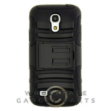 Samsung Galaxy S4 Mini Hybrid H Case with Stand Black Cover Shell Protector Skin
