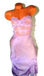 Victoria's Secret Gown Lace Designer Collection slip purple 100% Silk Small