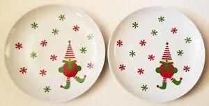 """CRATE & BARREL set of 2 NEW 7"""" porcelain JINGLE ELF plates 255-079"""