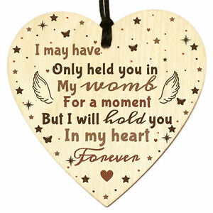 Baby Memorial Infant Loss Miscarriage Wooden Heart Plaque Sign Keepsake Gift