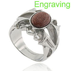 Stainless Steel Oval Cabochon Brown Sand Stone Men's Fashion Ring