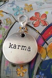 Karma Silver Stamped Medallion Round Tag Clip on Charm Pendant boho