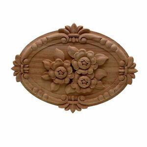 Natural Flower Carved Wood Decals Applique Furniture Molding For Home Decoration