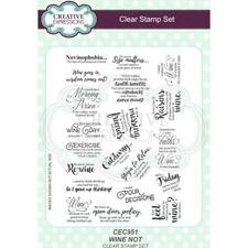 New Creative Expressions Rubber Stamp WINE NOT SENTIMENT SET clear cling