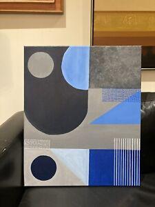 Original midcentury style Painting modernist cubism art ? acrylic ?Oil not print
