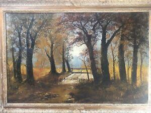 🔥 Antique 19th c. Impressionist Landscape Oil Painting - Johann Hans Klement