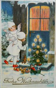 J. KRÄNZLE - ENGEL legen an WEIHNACHTEN Geschenke, Christbaum vor die Tür - 1943