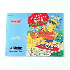 Instructions THE SIMPSONS BART vs SPACE MUTANTS (Nintendo NES 1990) Manual Only