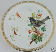 ANTIQUE ROYAL WORCESTER HAND PAINTED BIRD BEADED MORIAGE GOLD RIM TAZZA PLATE