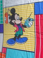 Twin Flat Bed Sheet Cool Mickey Mouse Skateboarding Sunglasses Disney Thumbs Up