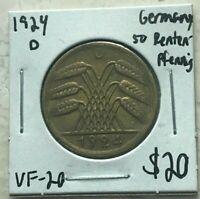1924 D Germany 50 Rentenpfennig - Weimar Republic
