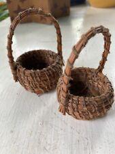 Miniature Wicker Straw & Twine/ String Baskets (2) Harvest Baskets Vintage 1980