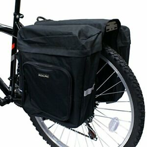 LARGE DOUBLE BIKE REAR RACK PANNIER BAG BICYCLE CYCLE WITH POCKETS SAFETY 28L