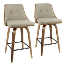 OPEN BOX Gianna Counter Stools in Light Grey Faux Leather & Walnut (Set of 2)