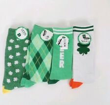 2a13c3563 4 Pairs Mens socks clover lucky St. patrick Sz 10-13 green Irish Halloween