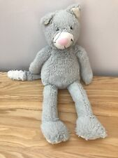 """The little white company grey cat soft toy plush comforter cuddly WHITE25 13.5"""""""