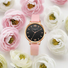 Ladies Fashion Rose Gold Black Faced Quartz Roman Numeral Pink Band Wrist Watch