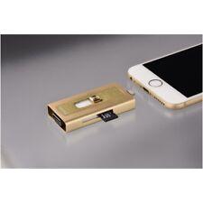Hama MoveData MFI Lightning USB Card Reader microSD Gold iPhone 5 6 7 iPad PC