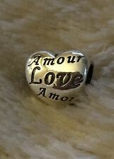 Genuine PANDORA Language Of Love Charm With Pandora Gift Pouch