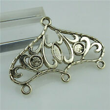 Dangle Pendant Connector Earring Making 13604 5Pcs Vintage Silver Large Flower