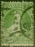New Zealand 1864 1s Yellow Green SG125 Good Used