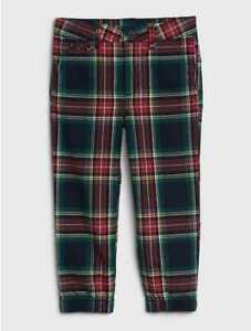 NEW TODDLER BOYS 18-24 MONTHS 3T 4T GAP KIDS RED PLAID DRESSY JOGGER PANTS