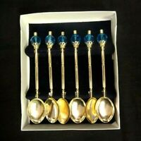 "SET OF 6 GOLD TONED & BLUE GEM ORNATE TEA SPOONS 4.25"" LONG"