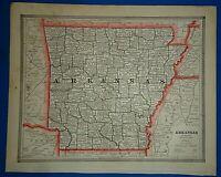 Vintage 1884 ARKANSAS MAP Old Antique Original & Authentic Atlas Map