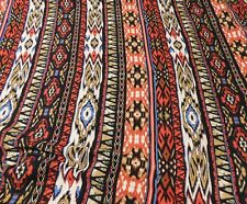 Black, Red And Blue Tribal Design Lightweight Polyester Fabric   SOLD BY THE YAR