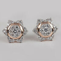 Solid 14k Rose Gold Natural Pave Diamond Stud Earrings Fine VALENTINE'S Jewelry
