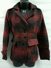 WOMENS RED PLAID COAT SZ M NEW! PEACOAT FAUX WOOL FREE SHIPPING