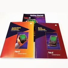 PALM III Vintage PDA MANUAL SET: Getting Started + APPLICATIONS HANDBOOK + Basic