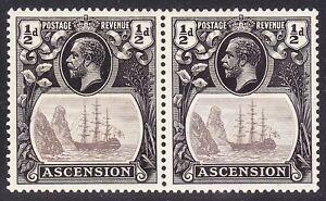 "Ascension 1924-33 ½d VAR ""BROKEN MAINMAST""& DOCTOR BLADE TYPE FLAW SG10a FINE MH"