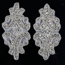 CraftbuddyUS DM11 Iron On Diamante Crystal Beaded Motif Wedding Applique Patch