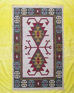 Southwestern Wool Floor Mat Living Room Chobi 5'x8' Geometric Beige Carpet Rugs